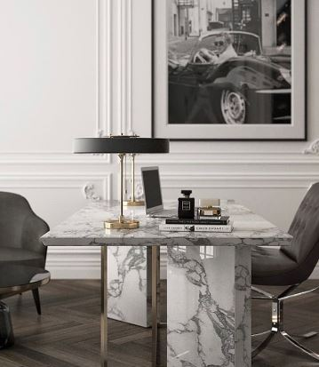 Luxury marble desk with laptop, great space to conduct virtual interviews