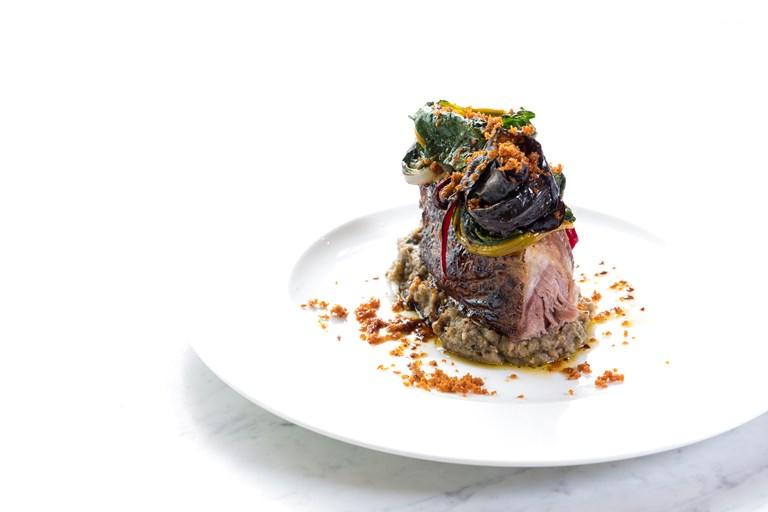 Slow-roasted lamb, smoked aubergines, grilled Swiss chard by Francesco Mazzi