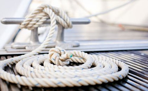 Ropes on yacht